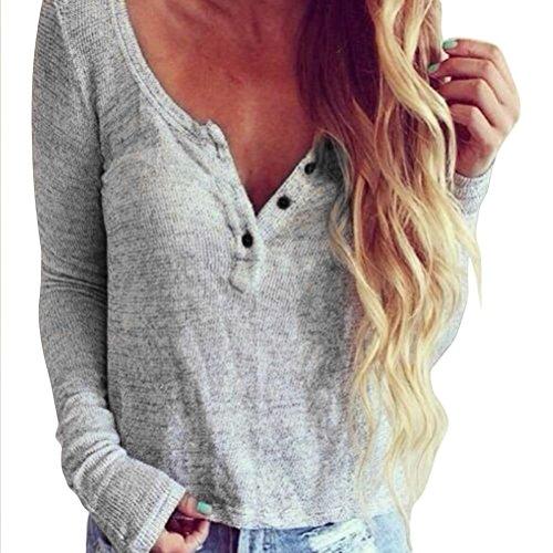 Bluse Damen Strickbluse Sommer Herbst Langarmshirt Sexy Pullover Shirts T-Shirts Langarm Blusen Lässige Tops Oberteile Pulli mit V-Ausschnitt,ABsoar