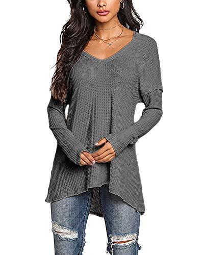 1efbbeaba45ce0 YOINS Pullover Damen Elegante Oberteile Damen Sexy Langarmshirt Blusen Top V -Ausschnitt T-Shirts