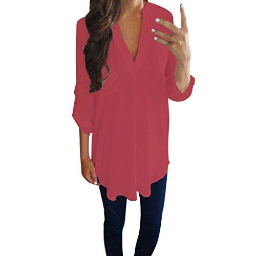 b835176f918afa Blusen Damen Lässig Chiffon Shirt Hemd Sexy Pullover Langarm V-Ausschnitt  T-Shirt Frauen Bluse Oberseiten Streetwear Sweatshirt,ABsoar