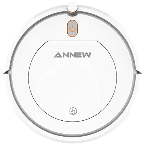 ANNEW Roboter-Staubsauger mit Fernbedienung 3 Reinigungsmodi Anti-Fall HEPA-Filter-Gut für Tierhaare Teppiche harte Böden