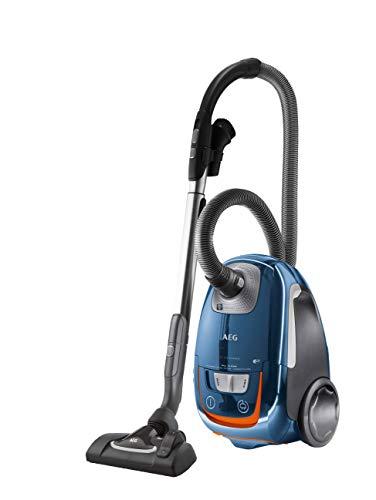 AEG VX8-3-FFPX Staubsauger mit Beutel, 500 W, nur 64 dBA, 12 m Aktionsradius, Softräder, 3,5 l Staubbeutelvolumen, waschbarer Allergy Plus Filter blau
