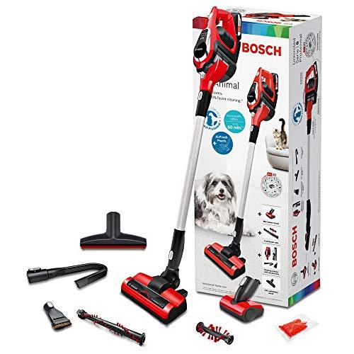 Bosch bbs1zoo Unlimited I 8 ProAnimal Kabelloser Staubsauger ohne Kabel mit unbegrenzter Laufzeit, Spezial Case mit Domestici 0.4 Liter, 2 Geschwindigkeiten, Rot