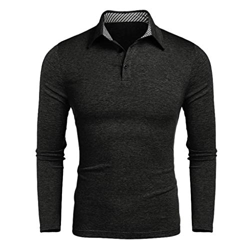 MNRIUOCII Herren Poloshirts Kurzarm Slim Fit Sommer T-Shirt Men's Polo Shirts Stretch Kurzarm Polohemd Polo Shirts Basic T-Shirt MäNner Sport Tank Tops Hemden Sweatshirt F-Dunkelgrau, XXL
