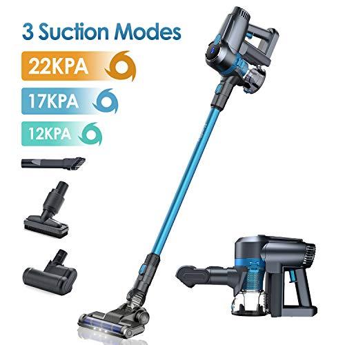 Akku Staubsauger, 22kPa Kabelloser Staubsauger,LG Baterrie 40 Min Laufzeit, LED-Bürsten, 3 Saugstufen, Ideal für Hartboden Teppich Homtikyblau